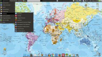 Bureau sous Ubuntu Mate avec le menu Applications déroulé