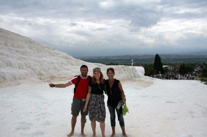 avec Isabel et Suzana dans la blancheur immaculé de Pamukkale