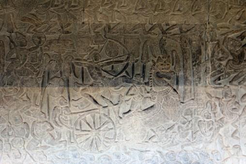 les temples d'Angkor - bas relief à Angkor Wat