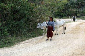 sur l'île des marais salants tout près de Kampot, ses habitants se prêtent volontiers à la photo