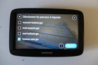 Choix du ou des parcours à importer depuis la carte mini-SD (GPS Tomtom) - l'autre ailleurs, une autre idée du voyage