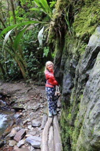 Roxanne la canadienne dans un passage difficile lors de la randonnée sous les palmiers de cire et vers la maison des colibris dans la vallée de Cocora près de Salento - l'autre ailleurs en Colombie, une autre idée du voyage