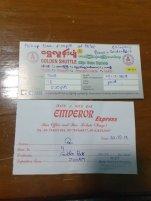 tickets de bus pour le bus de nuit depuis Nyaung Shwe vers Pegou (Bago) et ensuite vers Kin Pun via - l'autre ailleurs au Myanmar (Birmanie) et Thaïlande, une autre idée du voyage