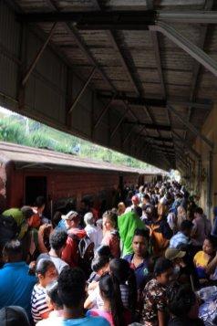 en gare de Nanu Oya, la plus proche de Nuwara Elyia, bousculade pour grimper dans les wagons de 3ème classe, je passe mon tour :) - l'autre ailleurs au Sri-Lanka, une autre idée du voyage
