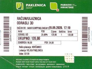 ticket d'entée du parc national de Paklenica - l'autre ailleurs en Croatie, une autre idée du voyage