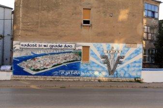 fresque murale dans la ville moderne de Zadar - l'autre ailleurs en Croatie, une autre idée du voyage