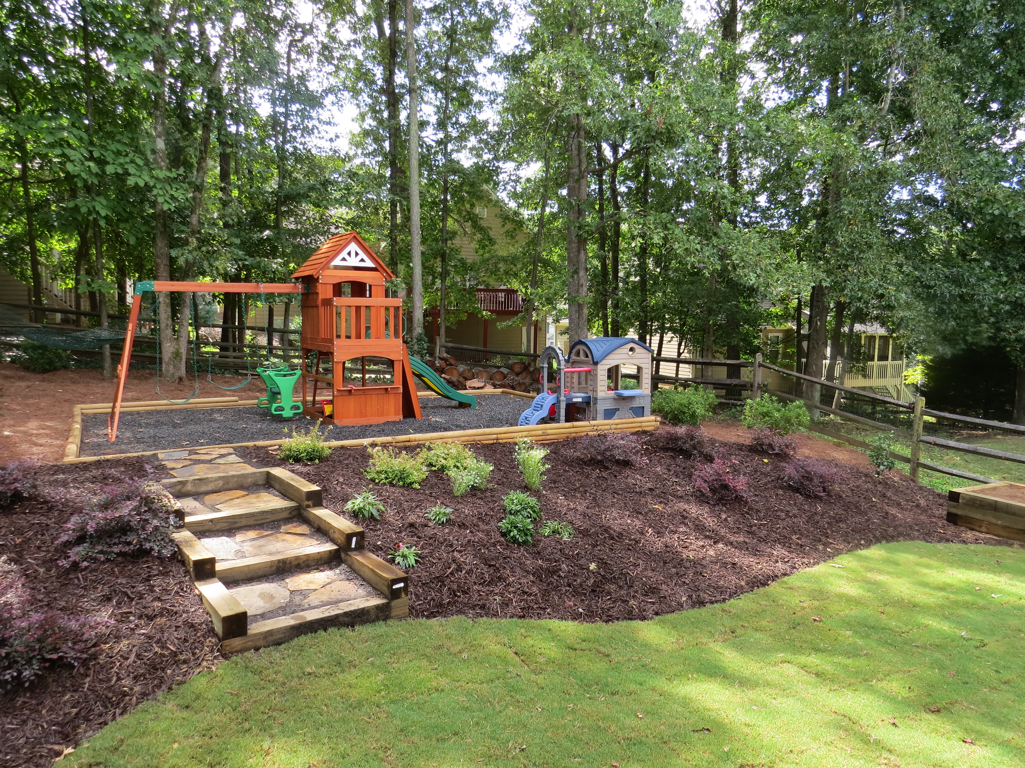 landscaping, landscape installer, install trees, plants on Small Sloped Backyard Ideas On A Budget id=65807