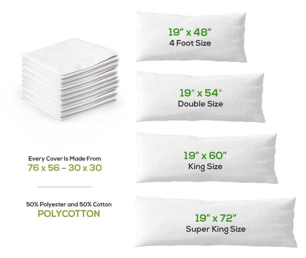 bolster pillow case poly cotton 4 d k sk sizes