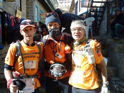Stéphane Bouchet à gauche et Charles Lajus à droite au Népal