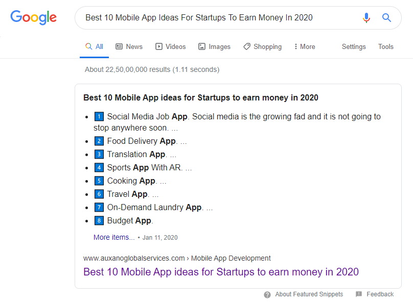 Google Snippet - SEO Company in india