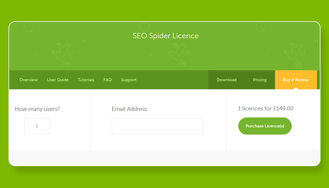 screamingfrog seo spider pricing