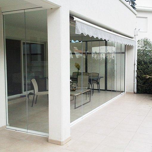 rideau de verre pour balcon terrasse