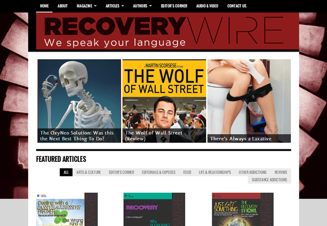 Home page image for website of Recovery Wire