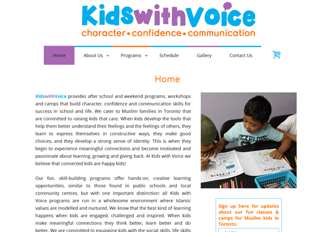 Homepage for Kids with Voice