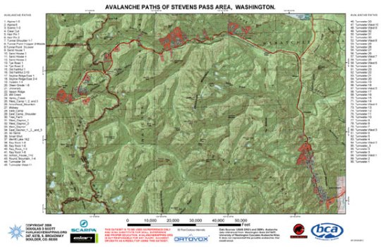 AvalancheMapping org Avalanche Path Atlas Map of Stevens Pass  Washington
