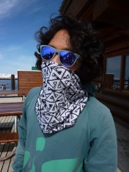 AVALON7 black and white bandaril snowboard bandana