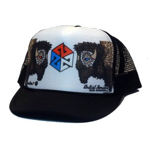 avalon7 bison warrior trucker hat by Rob Kingwill