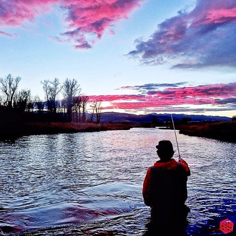 Mike Hardaker chases fish at sunset on the Snake River in Jackson Hole. #tankara #avalon7 #liveactivated www.avalon7.co
