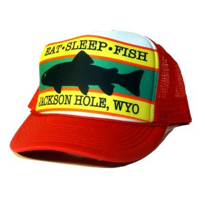 Eat Sleep Fish Jackson Hole trucker hat