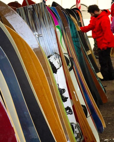 What would you ride? The line up of boards at the #jhpowwow was amazing this year! @jacksonhole #AVALON7 #liveactivated #snowboarding #shapersunion