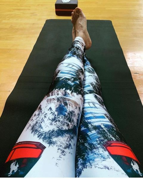 Our new Big Red Tram leggings are awesome!  Rock them on the yoga mat or as an underlayer when you are on the hill. Available now at Hole In The Wall snowboard shop @jacksonhole!  #jhdreaming #tramjam #seekthestoke www.avalon7.com
