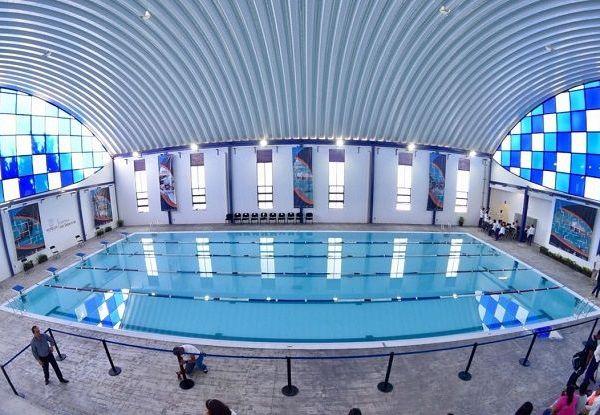 El gobernador Graco Ramírez y Manuel Portilla Diéguez, subdirector de Cultura Física de la Comisión Nacional del Deporte (CONADE), visitaron las nuevas instalaciones y presenciaron una exhibición de natación