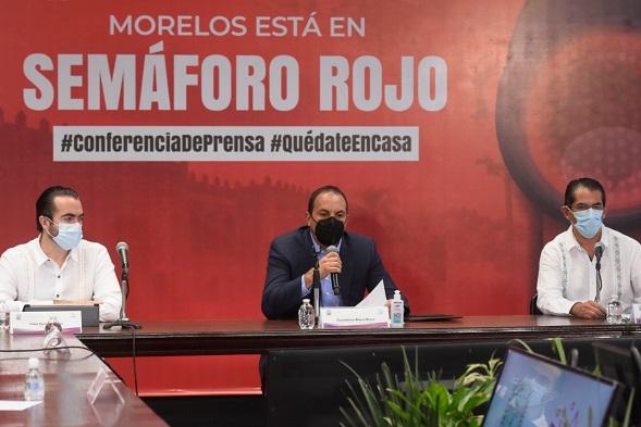 Informó que debido al ritmo acelerado de contagios y hospitalizaciones por el coronavirus SARS-CoV-2 en Morelos durante los últimos días, y tras valorar muy a fondo las sugerencias del comité especial constituido para atender la pandemia, su gobierno ha tomado la decisión de regresar al Semáforo Rojo