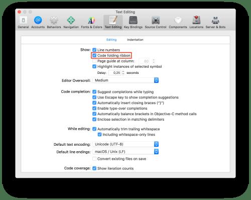 Xcode 10 Code Folding
