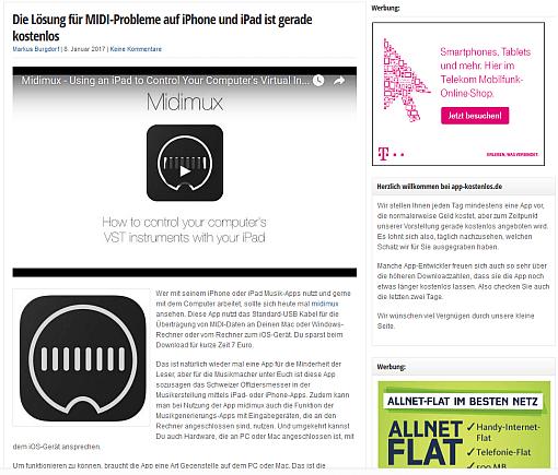 Beitrag auf app-kostenlos.de