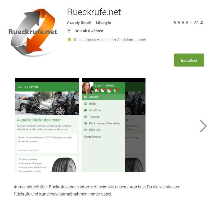 Die Detailseite der App Rueckrufe.net auf Google Play