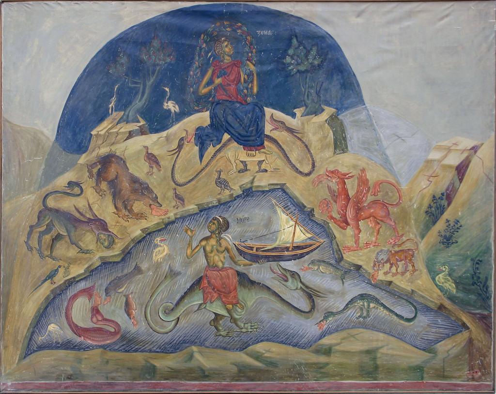 Strašni sud,Personifikaciije zemlje i mora, Bogorodica Ljeviška, Prizren