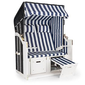 Blumfeldt Hiddensee Chaise longue cabine plage XL 2 places (repose-pieds extensibles, capot rabattable sur 5 niveaux, 2 coussins et appuie-têtes inclus) – blue & blanc