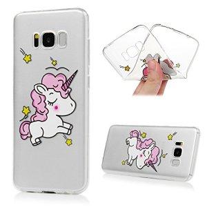 Coque Samsung Galaxy S8 Etui Peinture TPU Silicone Cover Ultra Léger Doux Lisse lumière Créatif Exclusif de Protection de Transparent Téléphone Case – Licorne