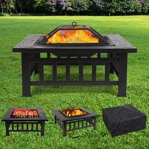 FEMOR Brasero pour Jardin Terrasses BBQ Brasero Ménager Barbecue pour Fête et Foyer 81*81*44cm en Acier NOIR Poêle Chauffant Brasero Foyer Four Carré