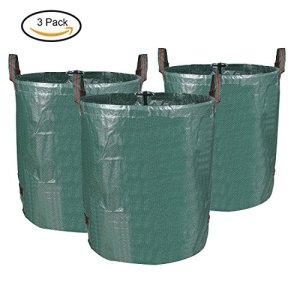 MVPOWER 3 x 272L Sac de Jardin Sac de Déchets de Jardin en PE Solide – Autoportante et Pliable – Sacs Poubelle pour les Déchets de Jardin Feuillage de Pelouse Vert Coupe -Réutilisable (3xSac)