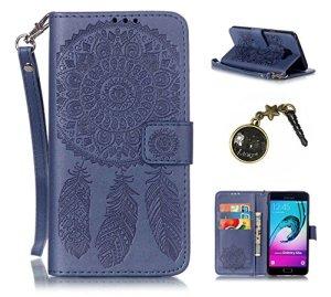 PU Cuir Coque Strass Case Etui Coque étui de portefeuille protection Coque Case Cas Cuir Swag Pour (Samsung Galaxy A5 (2016) A510F)+ Bouchons de poussière (3FA)