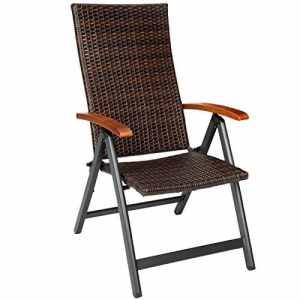 TecTake Fauteuil pliable en aluminium et poly rotin chaise multi-positions terrasse jardin (LxlxH) : 68 x 59 x 119 cm