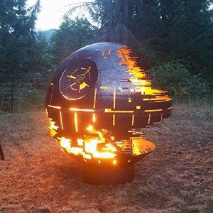 Foyer en forme d'Etoile de la mort de Star Wars Conçu sur mesure En acier brut, D 91,4cm 36″ Diameter Black Ceramic