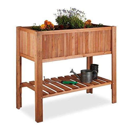 Relaxdays Potager sur pied en bois de sapin 4 pieds surface inférieur rangement jardiniere bac à fleurs pot HxlxP: 80 x 88 x 43,5 cm, brun rouge