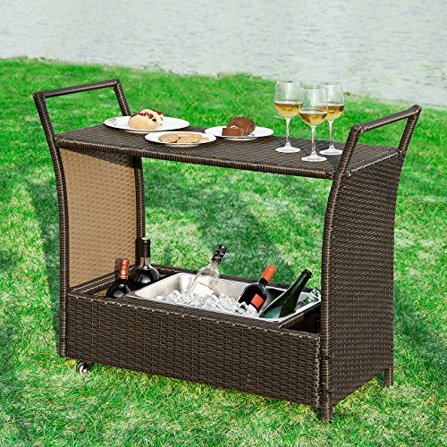 sobuy fkw48 br bar mobile bar chariot desserte de jardin roulant avec bassine gla ons pour