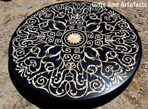 182,9cm rond en marbre Noir incrustation en nacre Pierre Dessus de table de salle à manger Royal Design