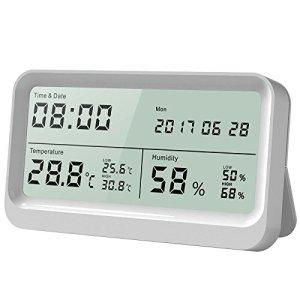 AngLink Thermomètre Hygromètre interieur à Grand Écran LCD 16:9 Température Humidité avec Fonction Horloge et Calendrier pour Maison ou Bureau