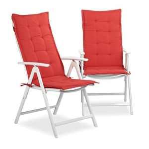 Relaxdays Coussin pour fauteuil de jardin lot de 2 matelas de chaise terrasse balcon HxlxP: 120 x 47 x 2,5 cm, bordeaux