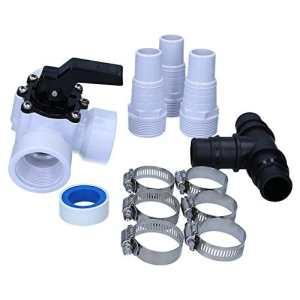 Bypass Kit pour votre piscine de sl247, le Valve 3voies en kit avec douilles Tuyau 32/38mm, colliers, T et ruban en téflon de distribution, pour chauffage solaire et pompes à chaleur