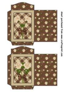 Feuille A4 pour confection de carte de vœux – 2 Chocolate and cream rose seed packets 1 par Sharon Poore