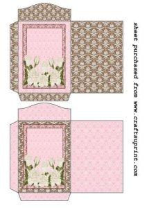 Feuille A4 pour confection de carte de vœux – 2 White rose seed packets par Sharon Poore