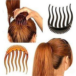 Gudhi 2pcs Fille Pince à cheveux queue de cheval Volume inserts Peigne de cheveux et accessoires