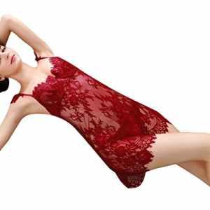 ❤️LILICAT Femmes Sexy Lingerie Dentelle Sous-Vêtements Vêtements de Nuit Nuit Siames Rouge Body Seamless Plus Taille Cadeaux Strap cils perspective dentelle chemise de nuit sexy lingerie (rouge, XL)