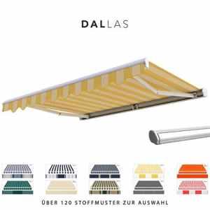 broxsun Store banne Dallas   Largeur 2,0à 6m   étalages jusqu'à 3,6m   Sélection: 120substances, manuelle ou Electrique uvm.   wetterfeste Store électrique Protection solaire terrasse ombrage Large Breite von 531 bis 600cm / Länge 360cm Somfy/Fernb.Motor.Kurbel-Wind-Sonnenaut.