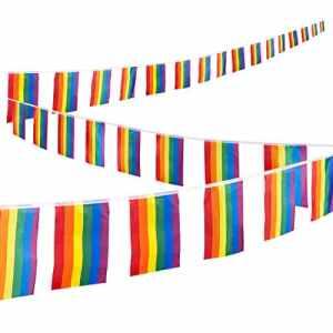 Corde de drapeaux arc-en-ciel, Ensemble de 32pièces Drapeau Gay Pride–LGBT drapeaux pour Pride décors, Pride, drapeaux, arc-en-ciel fête, Gay drapeaux, Multicolore–37,4Pieds Corde, chaque Drapeau 30,5x 19,6cm